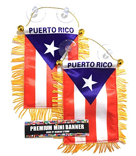 (2 Puerto Rico automobile car suv pickup trucks boat Rv Home or auto 2 Boricua Puerto Rican mini flag)