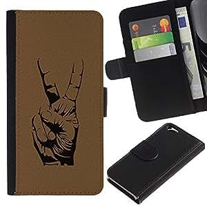 Billetera de Cuero Caso Titular de la tarjeta Carcasa Funda para Apple Iphone 6 4.7 / Peace Hand Sign / STRONG