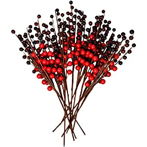 Gift Boutique Christmas Red Berry Picks for Holiday Decorations Set of 12 for Christmas Decor, Crafts, Mantel, Ornaments, Wreath, Garland or Tree – 16 Inch Faux Fake Winter Berries Stems