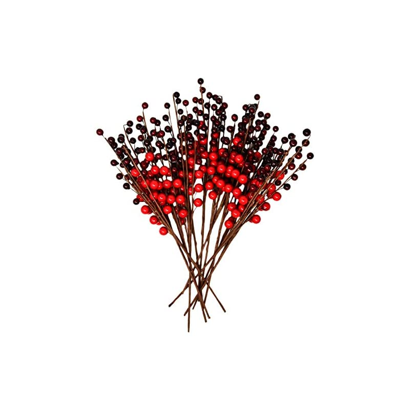 silk flower arrangements gift boutique christmas red berry picks for holiday decorations set of 12 for christmas decor, crafts, mantel, ornaments, wreath, garland or tree - 16 inch faux fake winter berries stems