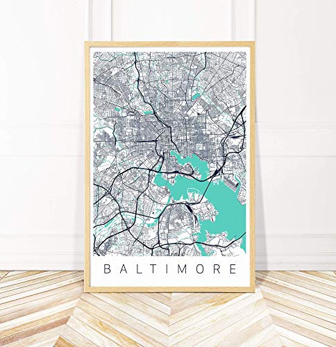 Baltimore Map Art Print - Map of Baltimore Maryland - Series II