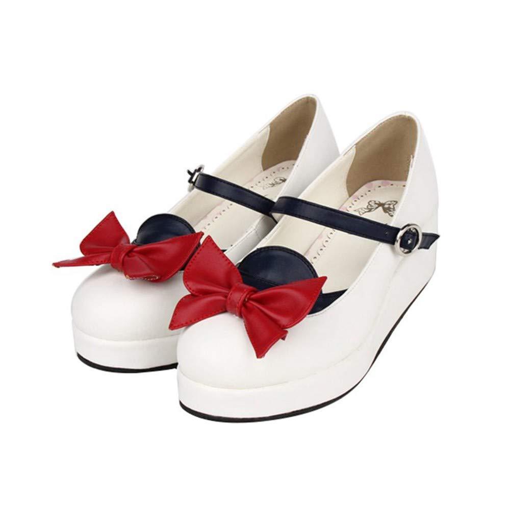 PINGXIANNV Lolita Damenschuhe Kleid Schuhe Dicke Plateauschuhe Marine Serie Schuhe Runde Kopf Schuhe B07JVB727V Tanzschuhe Geschäft