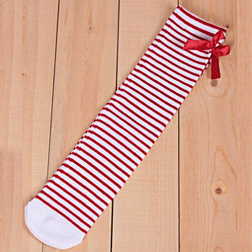 Haresle Girls Kids Knee High Socks Striped Long Socks with Bowknot (Red + White) by Haresle (Image #2)
