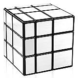 D-FantiX Qiyi Mirror Cube 3x3 Speed Cube Unequal 3x3 Puzzle Magic Cube Silver Black 57mm