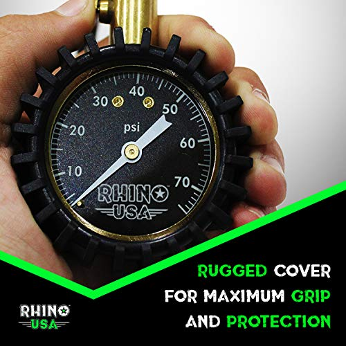 Rhino USA Heavy Duty Tire Pressure Gauge (0-75 PSI) - Certified ANSI B40.1 Accurate, Large 2'' Easy Read Glow Dial, Premium Braided Hose, Solid Brass Hardware, Best for Any Car, Truck, Motorcycle, RV… by Rhino USA (Image #2)