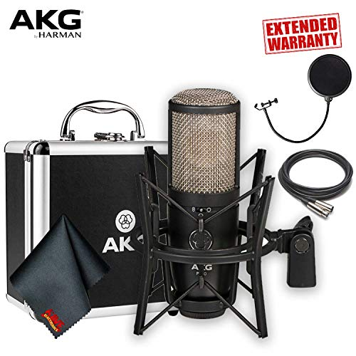 AKG Pro Audio P420 Multi-Pattern Large-Diaphragm Studio Condenser Microphone With XLR Cable, Pop Filter, Shockmount, Carrying Case AND 1-Year Extended Warranty ()