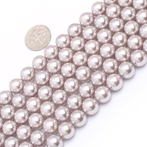 - 10mm Round Gemstone Silver Gray Pearl Shell Beads Strand 15 Inch Jewelry Making Beads