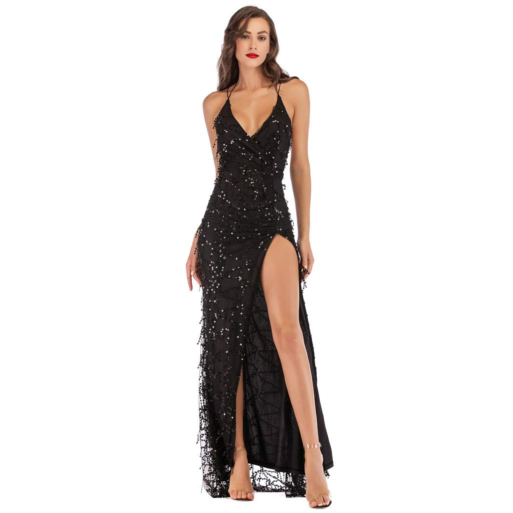 2da26b7493f Amazon.com  Sexy Women V Neck Maxi Sequin Halter Backless Split Cocktail  Prom Gown Dress  Beauty
