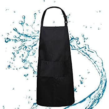 BOHARERS Bib Apron Waterproof Adjustable Neck for Women Lady Man Unisex with 2 Pockets Kitchen Restaurant Cooking Large Size 27 x 29 inches, Black