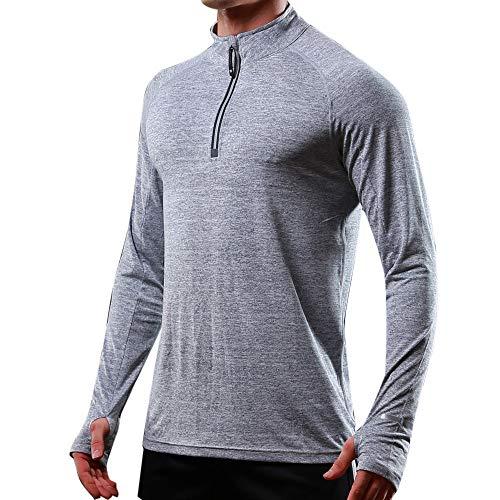 ANJUNIE Men's Athletic T-Shirt Elastic Long Sleeved Hoodie Reflective Fast Dry Tops(3-Gray,L)