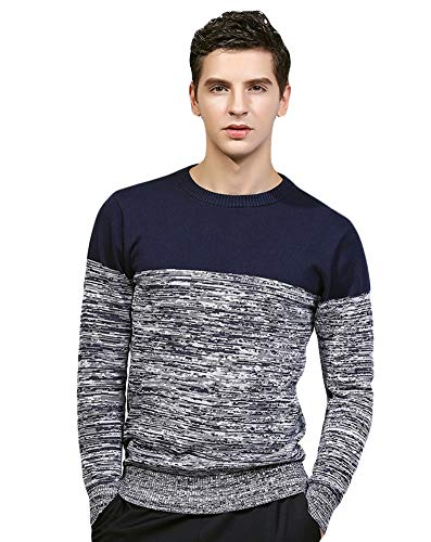 ICEGREY Mens Cable Knit Sweater Tops Colorblock Casual Pullover Blue 34 by ICEGREY