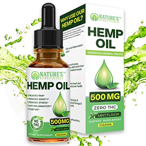 Organic Hemp Oil Extract Drops 500mg - Ultra Premium Pain Relief Anti-Inflammatory, Stress & Anxiety Relief, Joint Support, Slee