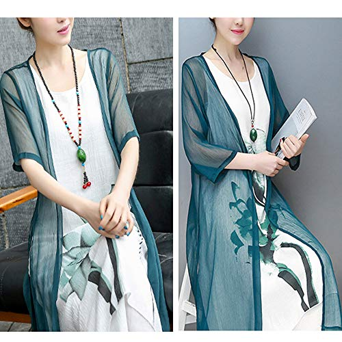 Round Color Cotton Block Retro Hem Floral Maxi Women Neck green Dress Long Asymmetric Piece Calladream Two Dark Printing Linen 0vO4q0Yw