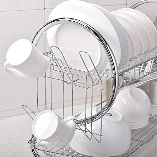 ステンレス製食器棚3段、キッチン用食器棚ドレーナーラックホルダードレンラック食器乾燥ラック引用、飲み物とお茶の熱い様式化されたカップを配管することは飲み物ではありません、それは抱擁テキスト、黒と白ですステンレス製食器棚キッチンドライドリップトレイカトラリーラック収納スペースセーバー