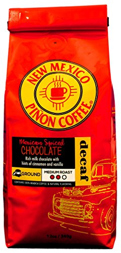 Coffee Mexican Decaffeinated - New Mexico Piñon Coffee Naturally Flavored Coffee (Mexican Spiced Chocolate Ground Decaf, 12 ounce)