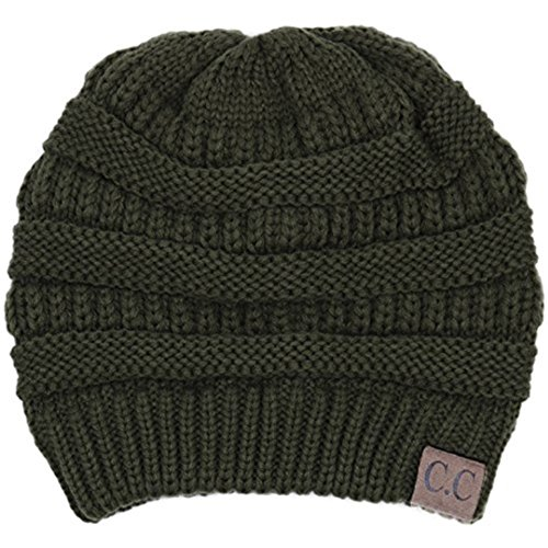 Ginga's Galleria CC Thick Slouchy Knit Oversized Beanie Cap Hat (New Olive)