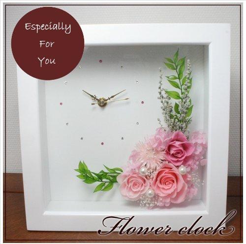 fleurcocoオリジナルフラワー時計 枯れないお花のプリザーブドフラワー ピンク系 バラ 結婚祝い 結婚記念日 新築祝 引越祝 開店祝 開院祝 誕生日プレゼント B006XLN2IW