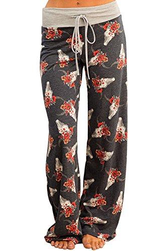 (NEWCOSPLAY Women's Comfy Pajama Pants Floral Print Drawstring Palazzo Lounge Wide Leg Pants (L, HL8864-dark Grey))