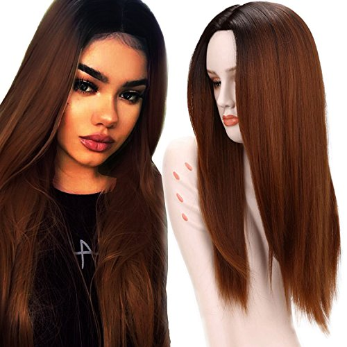 Wigs for White Women Two Tone Black Roots Natural Long Straight Heat Resistant Synthetic Brown Hair Wigs with Wig Cap (Brown) ()