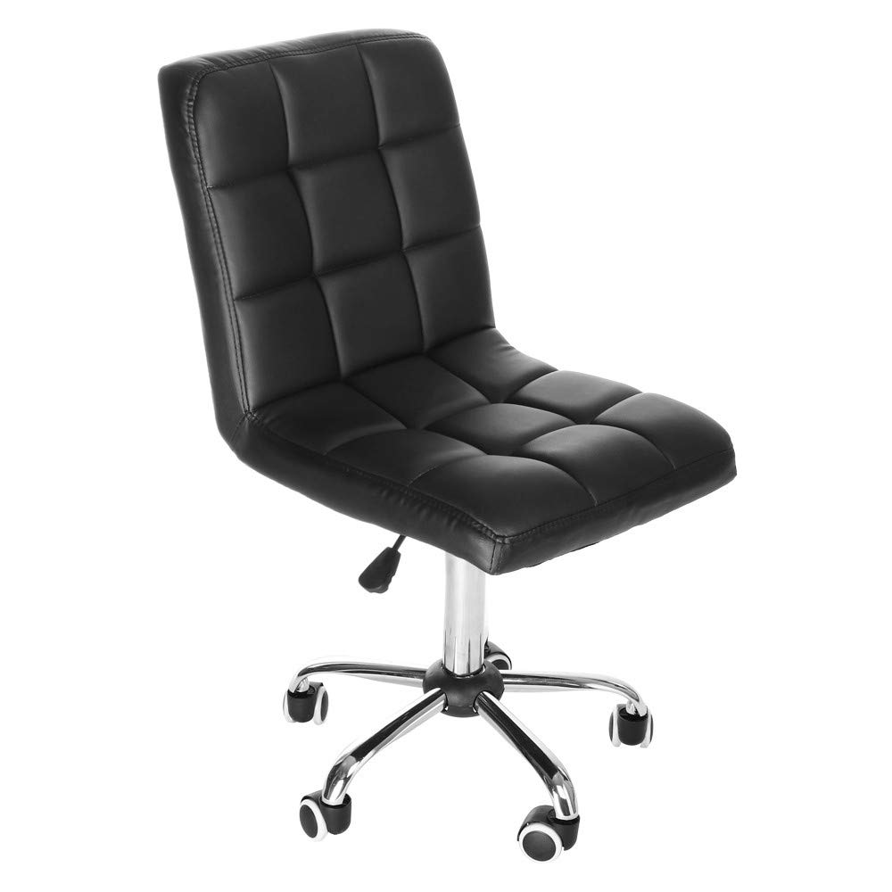 C-Easy 2019 Low Back Adjustable Lifting Armless Swivel Office Desk Task Chair Beauty Salon Chair, 360 Degree Free Rotation Pulley, Wear-Resistant and Durable, Black