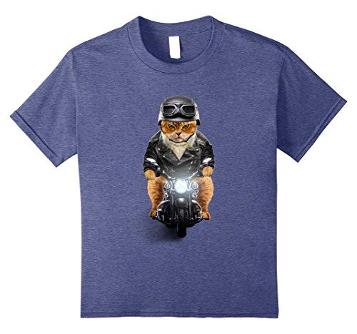 Touring Cat (Kids Orange Cat Solo Motorcycle Touring, Biker T-Shirt 8 Heather Blue)