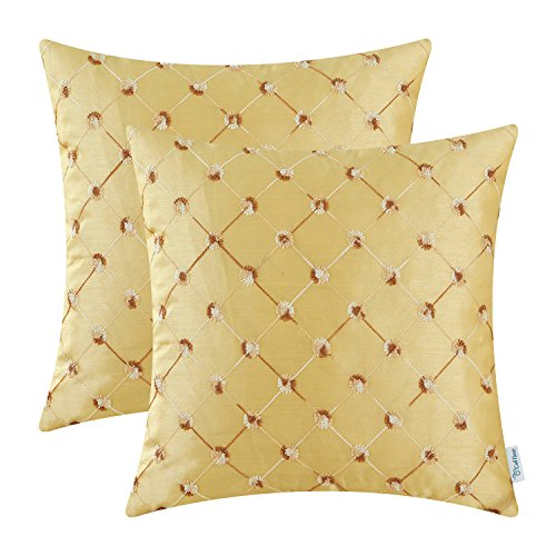 - CaliTime Pack of 2 Cushion Covers Throw Pillow Cases Shells for Sofa Couch Home Decoration 18 X 18 Inches Modern Diamonds Shape Geometric Chain Embroidered Gold