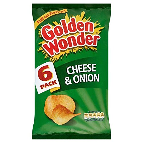 Golden Wonder Cheese & Onion Flavour Crisps Multipack 6 x 25g Bags