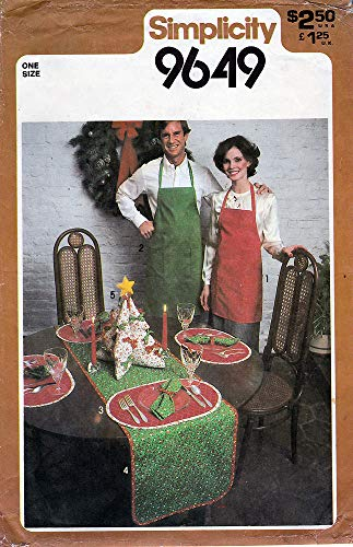 (Simplicity 9649 Sewing Pattern Christmas Table Runner Place Mats Napkins Apron)