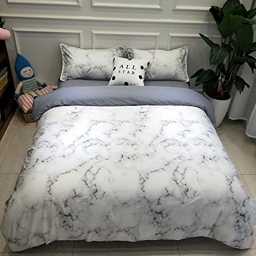 Price comparison product image Vintage Marble Print Luxury Bedding Set Queen Modern Reversible Girls Duvet Cover Set Full Grey Granite Print 3 Piece Bedding Collection for Kids Teens Adults Soft Summer Comforter Cover Set, Style2
