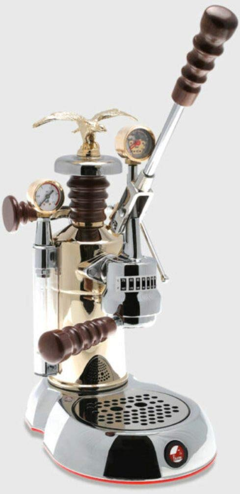 La Pavoni ESPCO-16 Esperto''Competente'' Espresso Machine, Chrome/Brass, 16 Cups Capacity, Larger 38 Ounce Boilers with Mounted Pressure Gauge, Brewing Pressure Profiling, Group Temperature Indicator