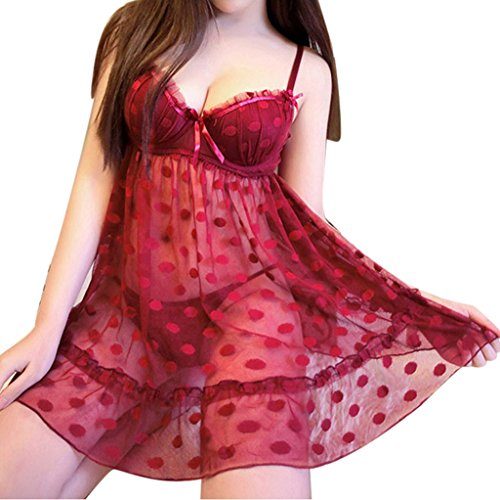 Realdo Women Lingerie Polka Dot Underwear Sleepwear Dress G-string Set