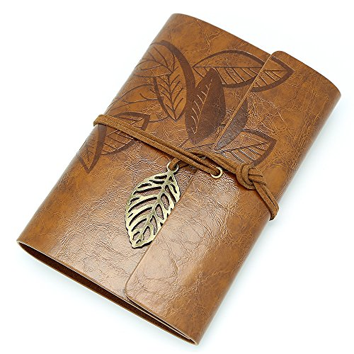 EvZ 7 Inches Vintage Dark Brown PU Leather Cover Loose Leaf Blank Notebook Journal Diary Gift
