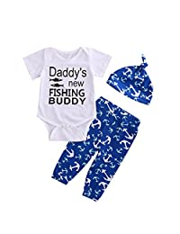 Newborn Baby Boys Girls Summer Fishing Bodysuit+Pants+Hat Outfit