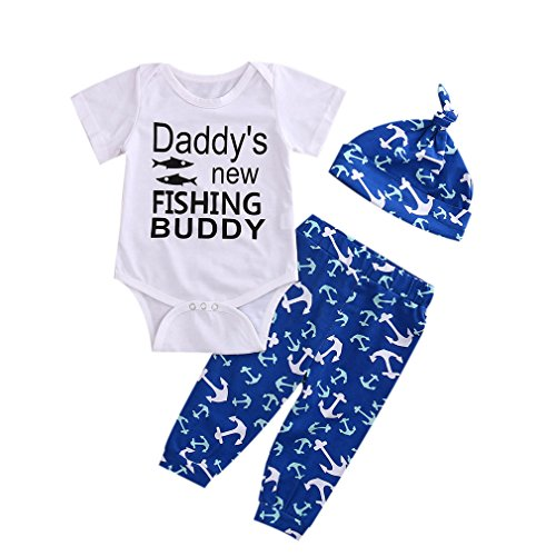 3Pcs Newborn Baby Boys Girls Fishing Clothes Set,Summer Bodysuit+Anchor Print Pants with Hat Outfits (12-18 Months)