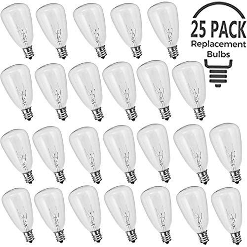 Monkeydg 25-Pack ST35 Bulbs Replacement Edison Clear Bulbs ST40 Screw Base Glass Light Bulbs-UL Listed for Indoor/Outdoor -5W/E12 - 5w Light Bulb