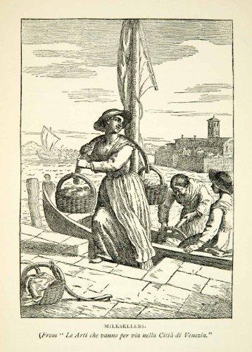 1894 Print Milkseller Vendor Venice Italian Venetian Bottle Woman Yoke Boat Jar - Relief Line-block Print (Block Yoke)