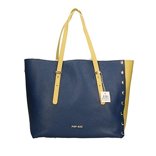 in Citron Sac cuir main Impression Italy Cm POP Bleu Citron Bags en à Made femme véritable Dollar 34x31x15 zqFpwa1
