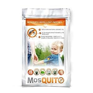 Repelente de mosquitos–Parche paquete 60–Natural, no tóxico, deet-free–24H protección 100% puro aceite esencial–el compañero ideal para exteriores