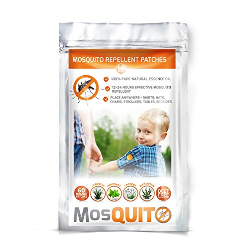 MosQuitO Repellent Patch - Resealable 60 Pack - All-Natural, Non-Toxic, DEET-Free - 24h Protection 100% Pure Essential Oil - Ideal Outdoor Companion
