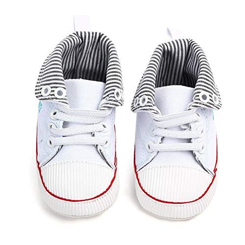 NUWFOR Newborn Toddler Baby Girls Boys Canvas Anti-Slip First Walkers Soft Sole Shoes(White,6-12Months) by NUWFOR (Image #4)
