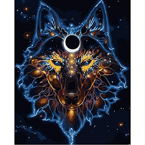 (Painting by Numbers Number DIY Dropshipping Mask Behind The Wolf Animal Canvas Wedding Decoration Art Picture Gift 16X20In)