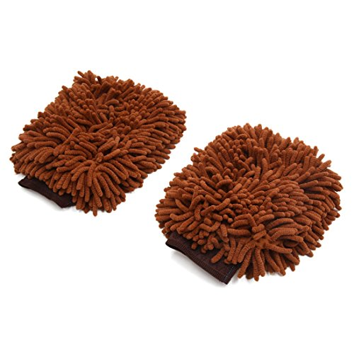 uxcell 2Pcs Brown Dual Sided Long Microfiber Chenille Mitt Car Washing Cleaning Glove by uxcell