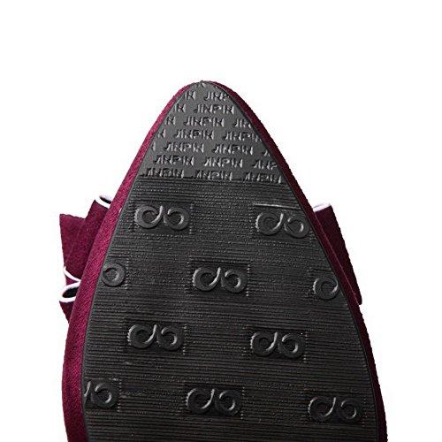 VogueZone009 Damen Rein Mattglasbirne Niedriger Absatz Ziehen auf Spitz Zehe Pumps Schuhe Weinrot