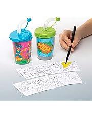 """Baker Ross Mok """"Superhelden"""" om in te kleuren met flexibele rietjes (3 stuks) – knutselidee voor kinderen om te versieren en te drinken"""