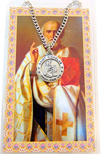 Saint Nicholas 3/4-inch Pewter Medal Pendant Necklace with Holy Prayer - Medal Necklace Holy