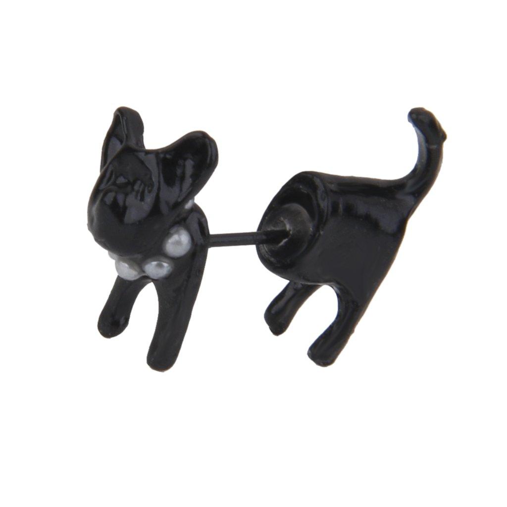Ear Stud Alloy Black 3D Front Back Animal Cat Piercing Earrings for Women Generic STK0113014075