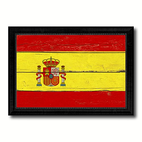 Spain Country Flag Vintage Canvas Print with Black Picture Frame Home Decor Wall Art Decoration Artwork Gifts by SpotColorArt
