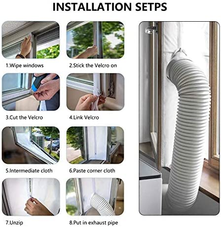 Aozzy Window Seal for Portable Air Conditioner/Tumble Dryer, Works with Any Mobile A/C Unit, Stop Hot Air Coming, Easy to Install, No Need for Drilling (Window Seal 400CM-White)