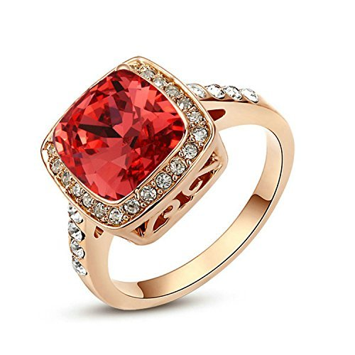 Yoursfs Evening Jewelry Rings for Women Austrian Crystal Wedding Jewelry for Bridal 18K Rose Gold Plated Lady Red Cocktail Rings Xmas Jewelry Gifts