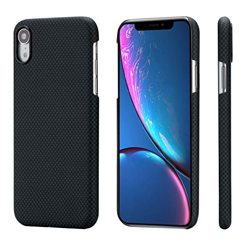 PITAKA Slim Case Compatible with iPhone XR 6.1, MagCase Aramid Fiber [Real Body Armor Material] Phone Case,Minimalist Strongest Durable Snugly Fit Snap-on Case - Black/Grey(Plain)